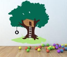 Tree House with Tire Swing Large Nursery Playroom Mural Vinyl Wall Decal 65'W x 71'H 22258