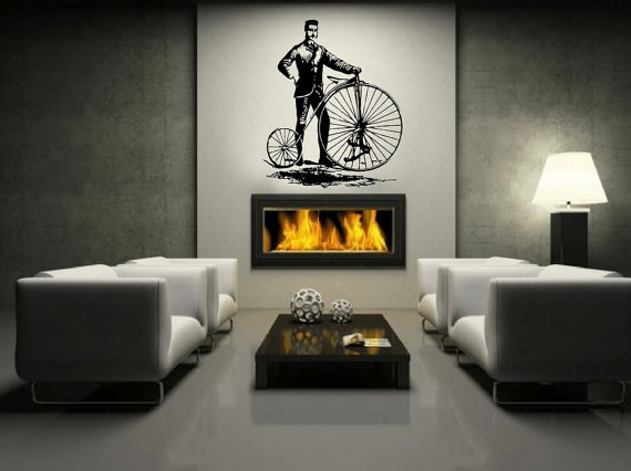 Wall Decal Bicycle Antique Vintage Style Bicycle And Man Large - Vintage wall decals